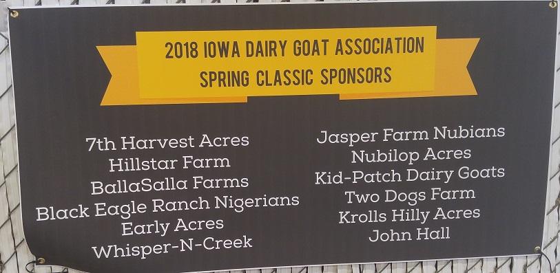 2018 Iowa Spring Classic Ring Sponsors